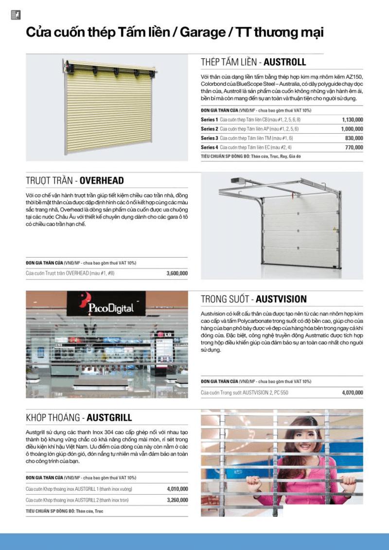 Báo giá cửa cuốn Austdoor 2020: cửa cuốn tấm liền, cửa trượt trần, cửa khớp thoáng.