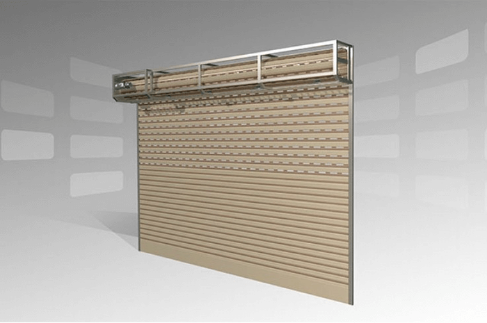 Hình vẽ 3D mô tả cấu tạo chi tiết cửa cuốn khe thoáng.