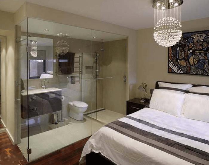 18 Mẫu phòng tắm kính trong phòng ngủ đẹp như khách sạn 5 sao