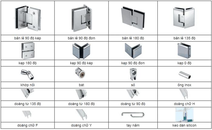 Các chi tiết phụ kiện phòng tắm kính điển hình.