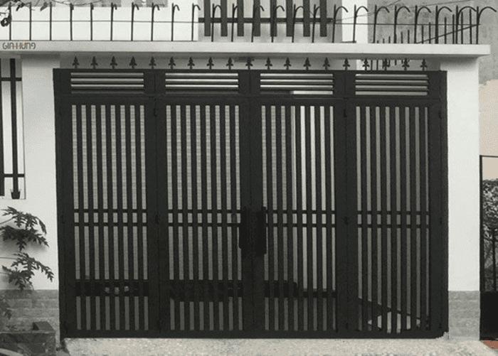 Mái cổng sắt đẹp thiết kế chống trộm.