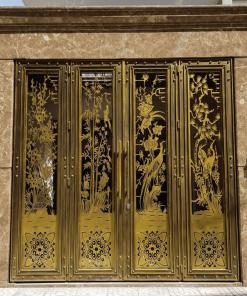 Cửa sắt màu vàng đồng dạng cửa sắt cắt CNC.