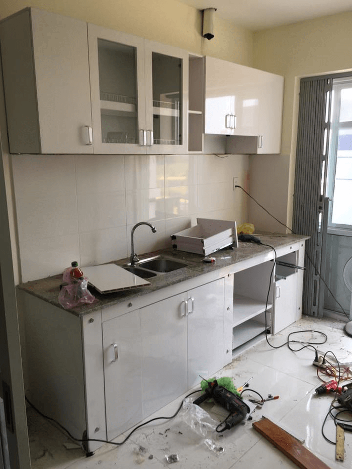 Mẫu tủ bếp Acrylic giá rẻ lắp đặt 2019.