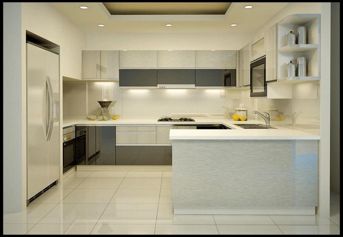 Chất liệu gỗ nhựa Acrylic sáng bóng, đem lại cảm giác sáng và sang trọng cho không gian bếp.