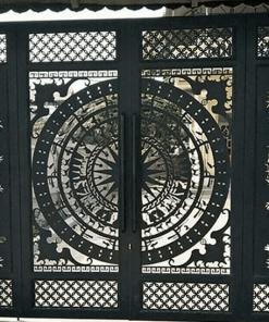 Mẫu cửa cổng sắt CNC theo hoa văn trống đồng.