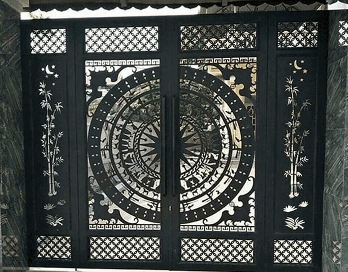 Mẫu cửa cổng sắt biệt thự đẹp - Cổng sắt CNC trống đồng.