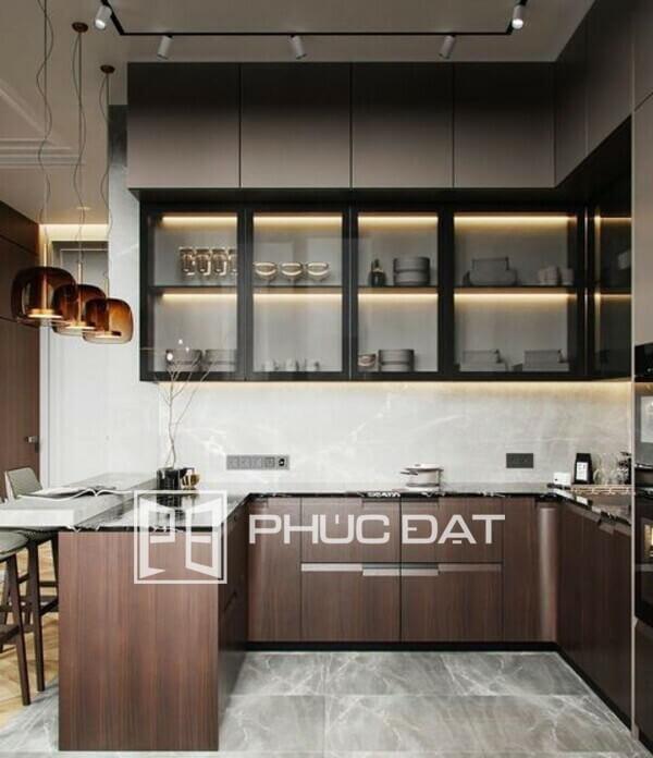 Tủ bếp hiện đại cao cấp lắp đặt từ nhôm nội thất nhập khẩu cao cấp của Phúc Đat có độ hoàn thiện cao.