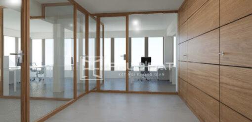 Sản phẩm cửa gỗ kết hợp kính cường lực do Phúc Đạt lắp đặt.