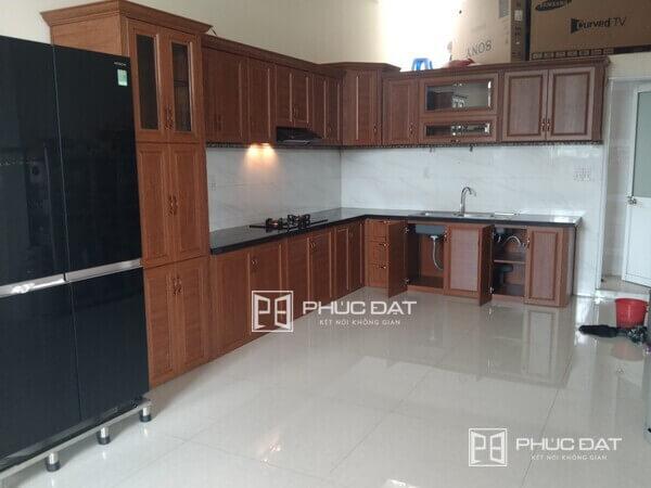 Tủ bếp nhôm đẹp cho nhà mới, thi công bởi Phúc Đạt.