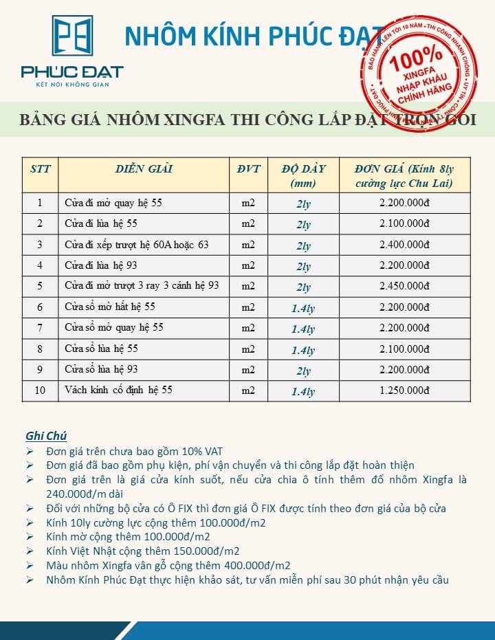 Bảng báo giá cửa nhôm Xingfa nhập khẩu chính hãng 100% cập nhật tới Tháng 05/2021 - Phúc Đạt Door