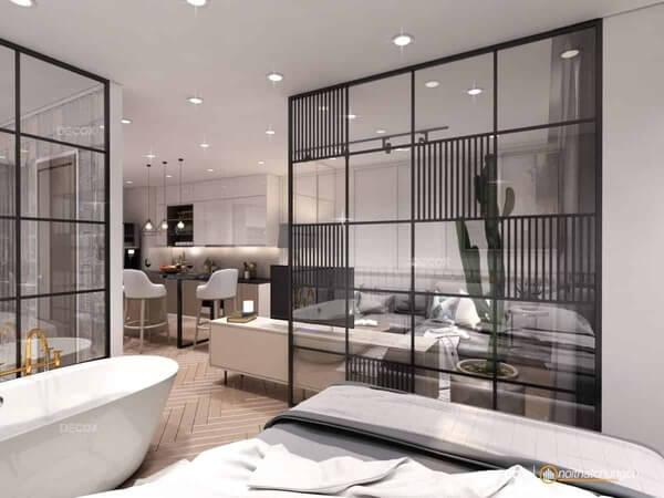 Mẫu vách kính ngăn phòng đẹp cho nhà hiện đại.