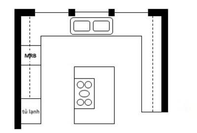Đảo bếp nhỏ gọn kết hợp tủ bếp chữ U.