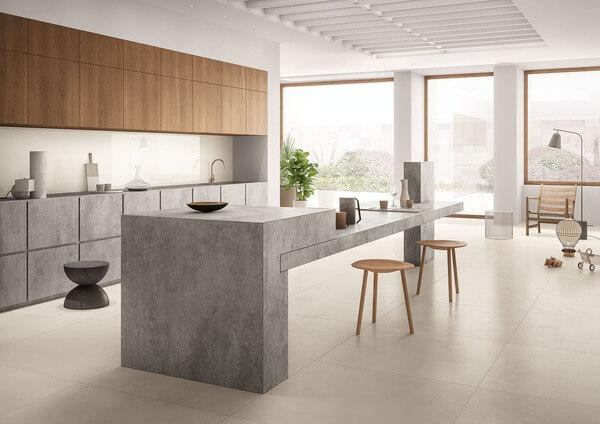 Mẫu quầy đảo bếp bằng đá bới thiết kế tối giản.