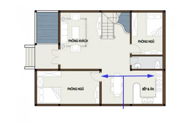 Trong phong thủy nhà bếp và phòng ngủ thì không nên đặt bếp đối diện cửa phòng ngủ.