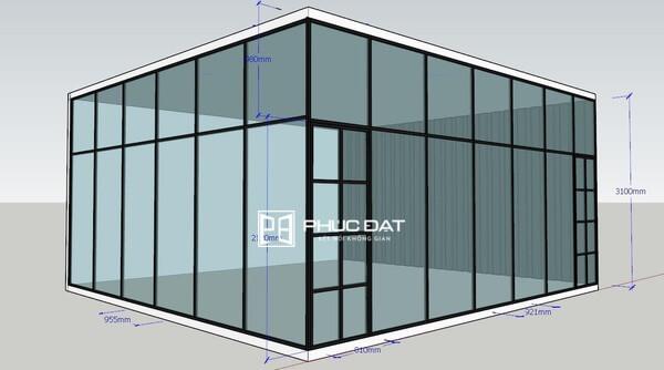 Bản vẽ cấu tạo vách kính khung sắt được lên phương án chi tiết.