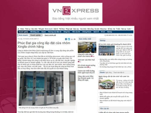 Báo VNExpress - Phúc Đạt gia công lắp đặt cửa nhôm Xingfa chính hãng